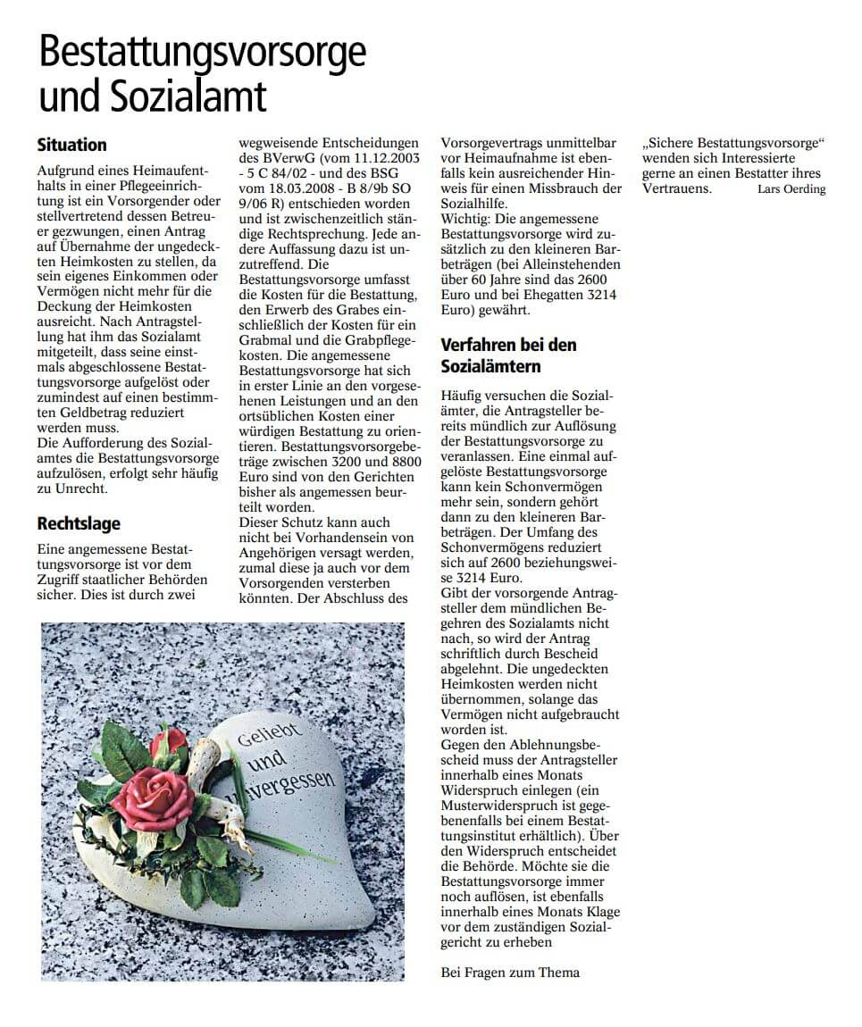 Bestattungsvorsorge Beratung bei Lars Oerding in Zeven