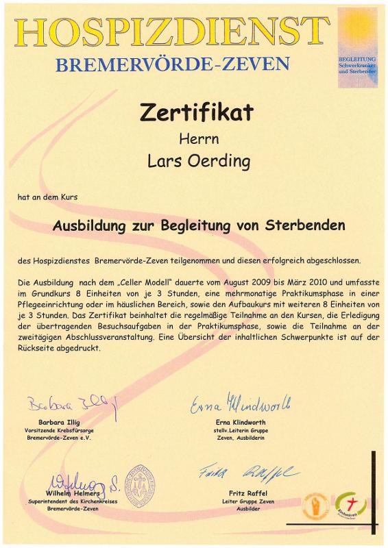 Zertifikat des Hospitzdienstes von Lars Oerding
