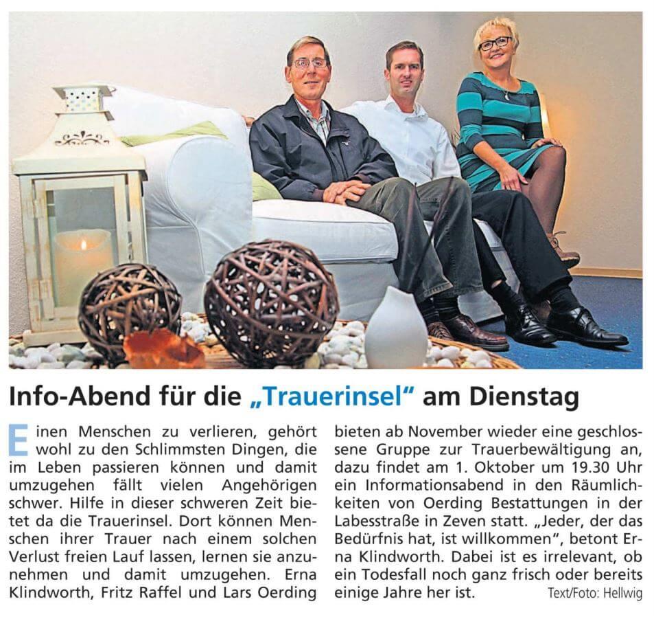"""Info-Abend der """"Trauerinsel"""" mit Lars Oerding aus Zeven"""
