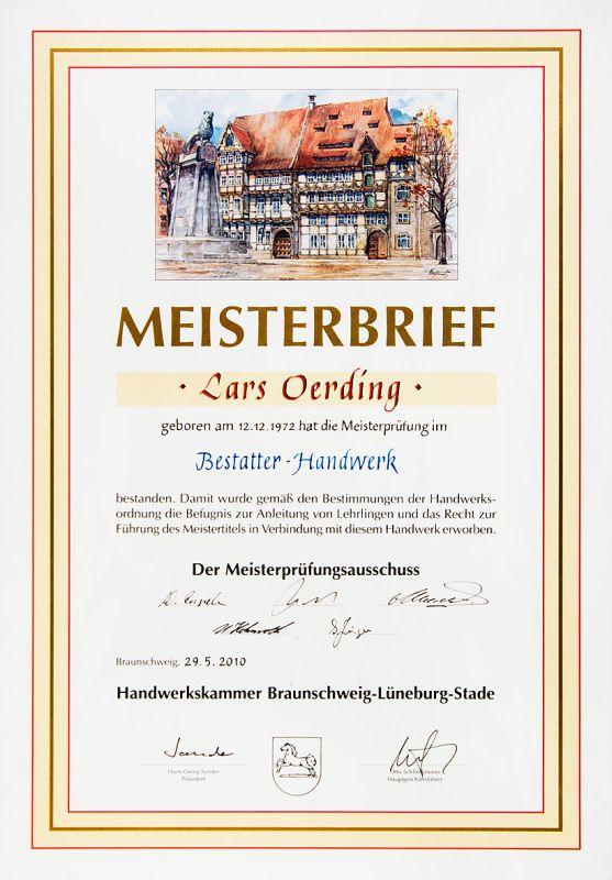 Meisterbrief von Lars Oerding Zeven