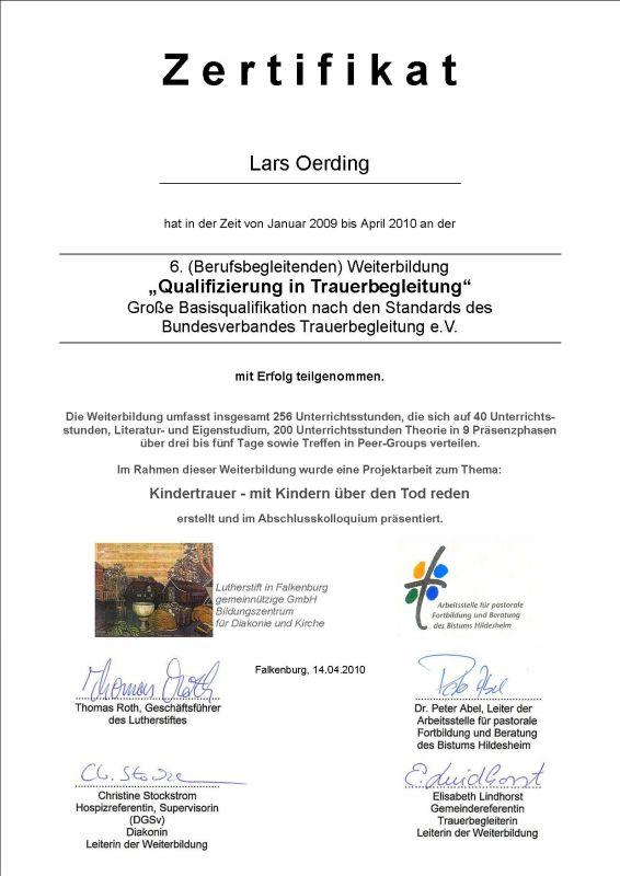 Zertifikat zum Qualifizierten Trauerbegleiter - Lars Oerding Zeven